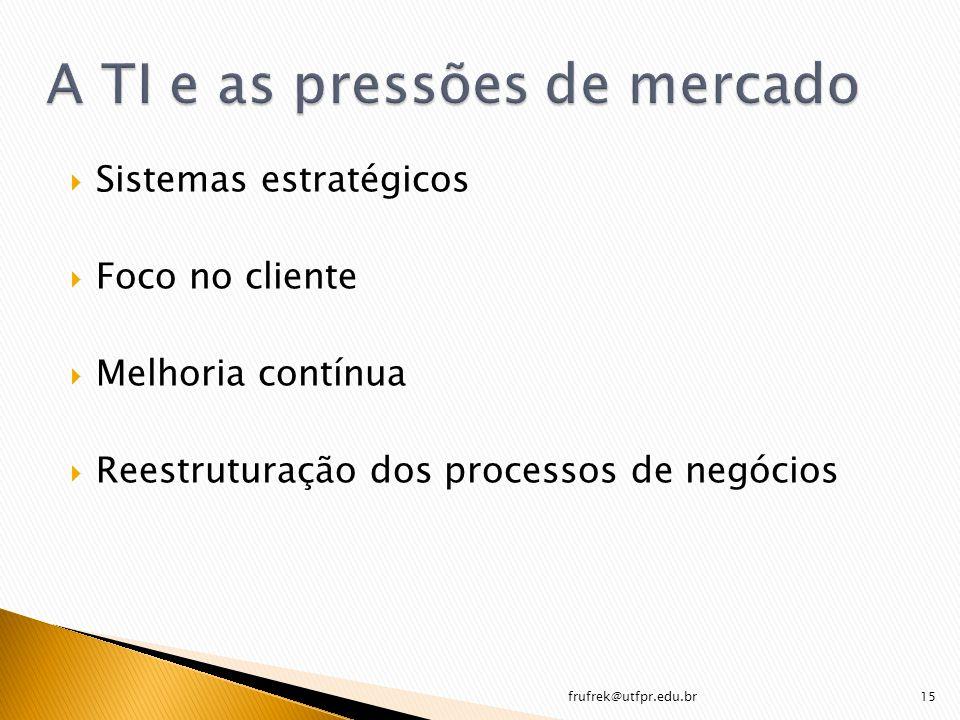Sistemas estratégicos Foco no cliente Melhoria contínua Reestruturação dos processos de negócios frufrek@utfpr.edu.br15