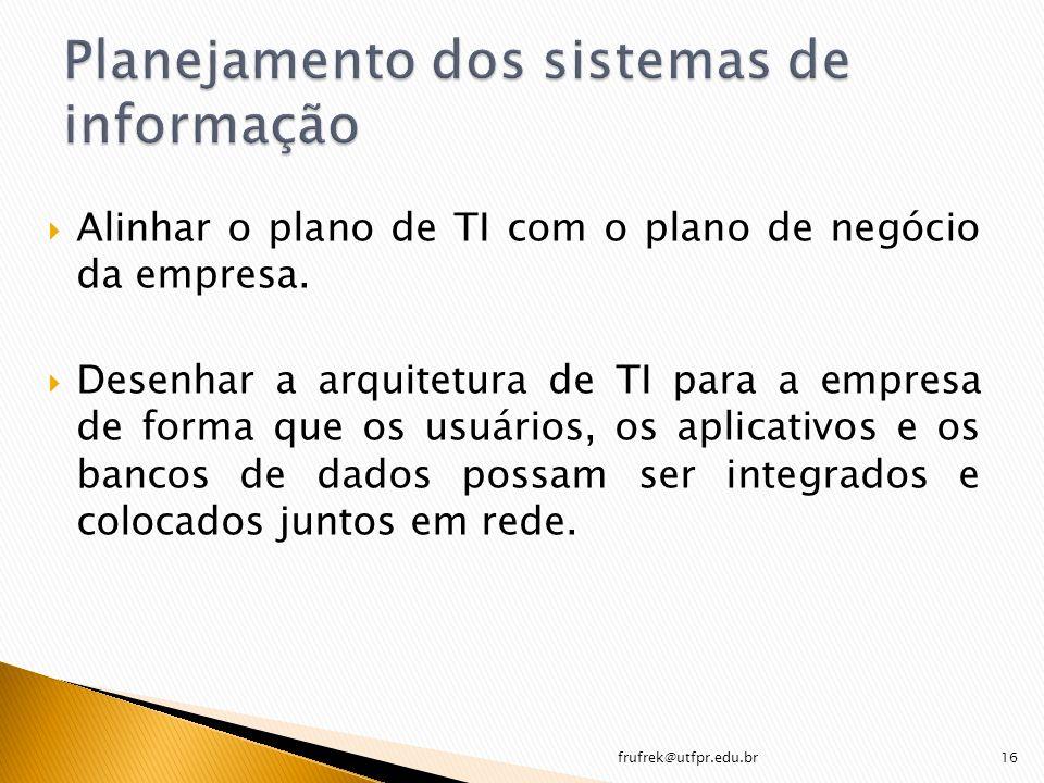 Alinhar o plano de TI com o plano de negócio da empresa. Desenhar a arquitetura de TI para a empresa de forma que os usuários, os aplicativos e os ban