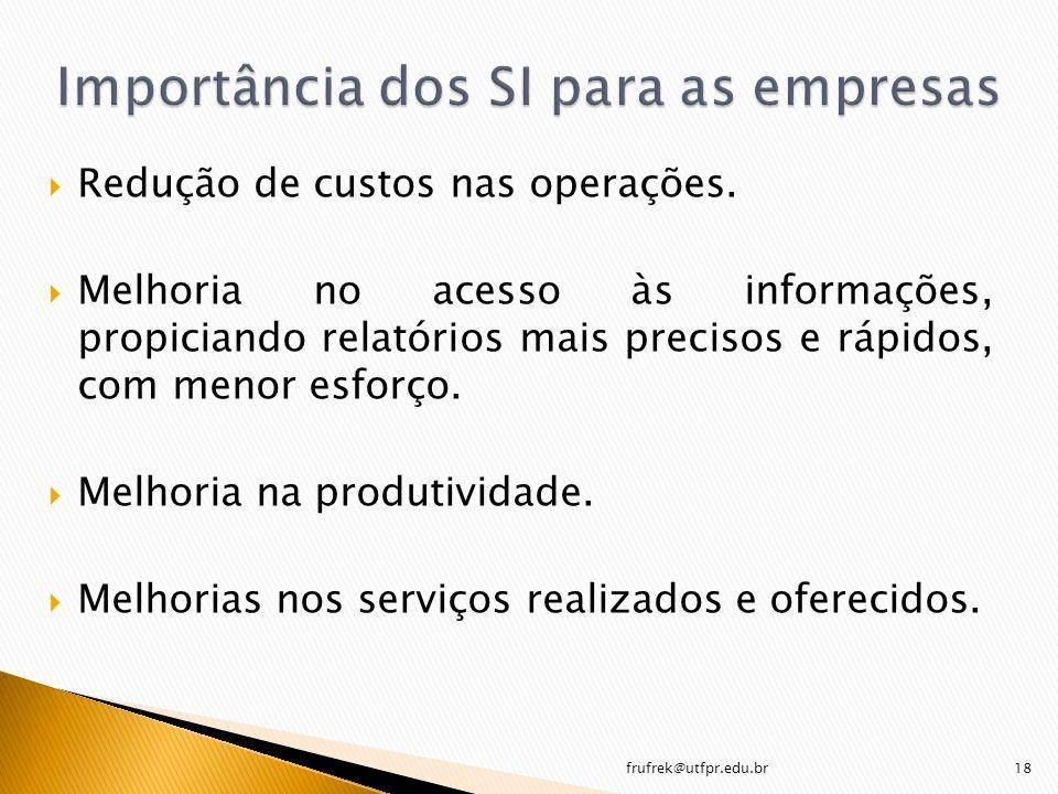 Redução de custos nas operações. Melhoria no acesso às informações, propiciando relatórios mais precisos e rápidos, com menor esforço. Melhoria na pro