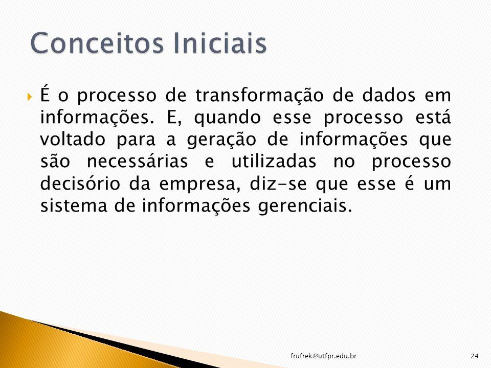 É o processo de transformação de dados em informações. E, quando esse processo está voltado para a geração de informações que são necessárias e utiliz