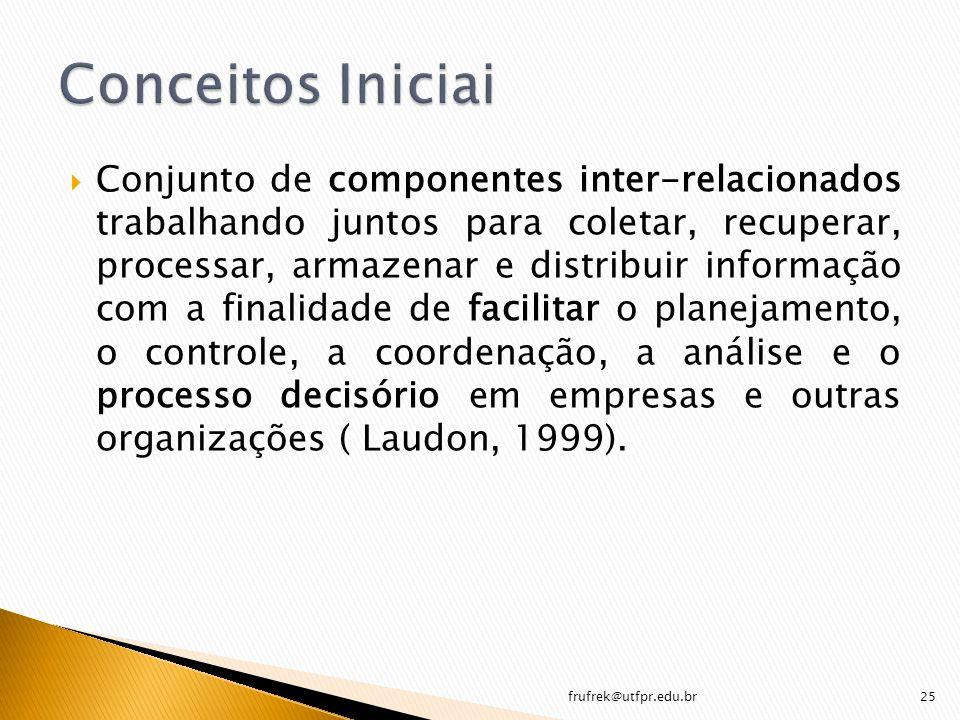 Conjunto de componentes inter-relacionados trabalhando juntos para coletar, recuperar, processar, armazenar e distribuir informação com a finalidade d