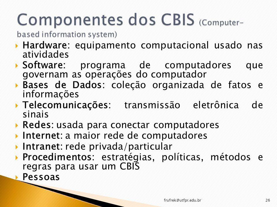 Hardware: equipamento computacional usado nas atividades Software: programa de computadores que governam as operações do computador Bases de Dados: co
