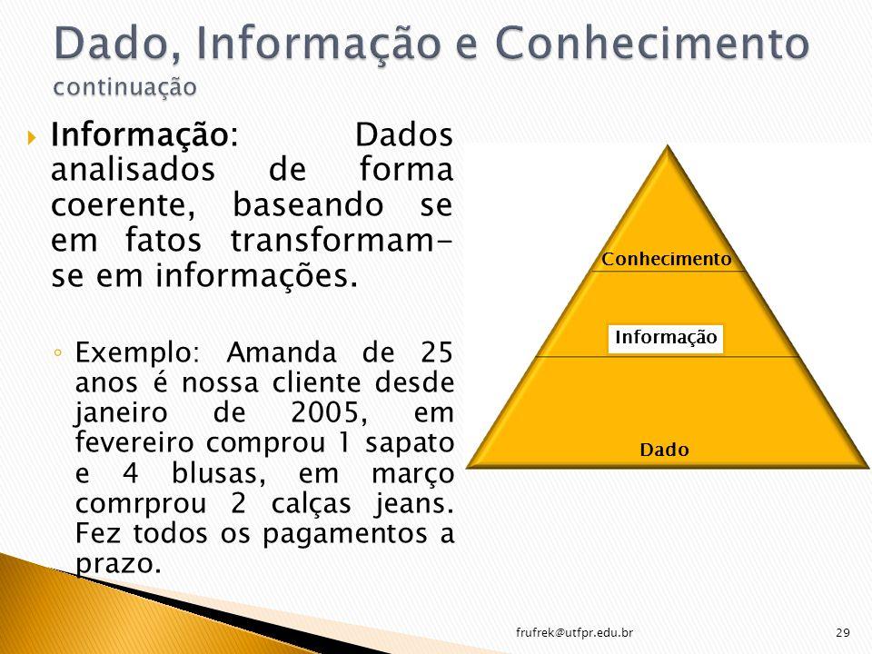 Informação: Dados analisados de forma coerente, baseando se em fatos transformam- se em informações. Exemplo: Amanda de 25 anos é nossa cliente desde