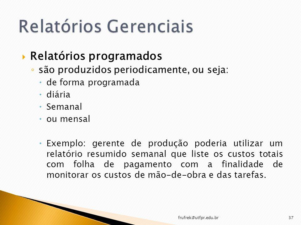 Relatórios programados são produzidos periodicamente, ou seja: de forma programada diária Semanal ou mensal Exemplo: gerente de produção poderia utili