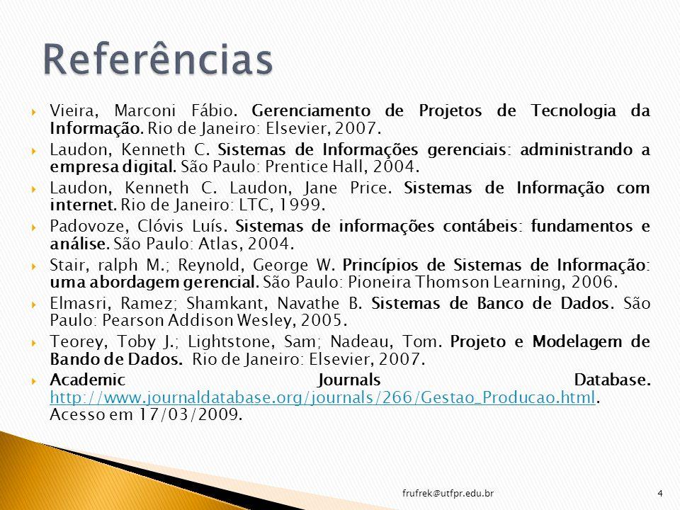 frufrek@utfpr.edu.br 35 Programa de Aplicações/Consultas (Queries) Programa para processamento de consultas Software para acesso dos dados armazenados Definição dos dados armazenados Usuários Programadores Bando de dados armazenados