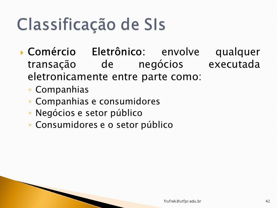 Comércio Eletrônico: envolve qualquer transação de negócios executada eletronicamente entre parte como: Companhias Companhias e consumidores Negócios