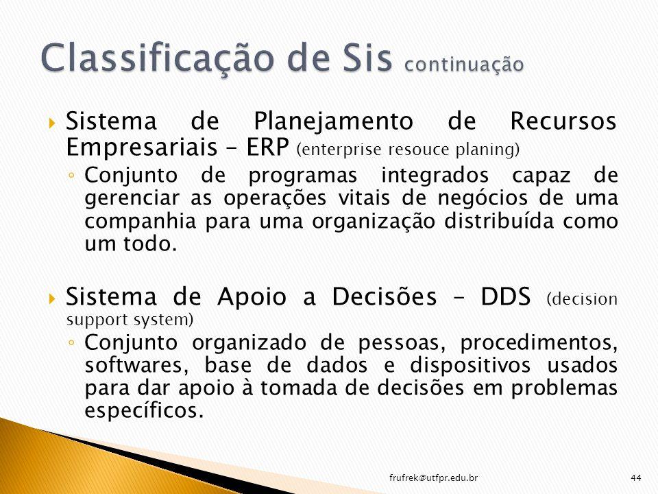 Sistema de Planejamento de Recursos Empresariais – ERP (enterprise resouce planing) Conjunto de programas integrados capaz de gerenciar as operações v