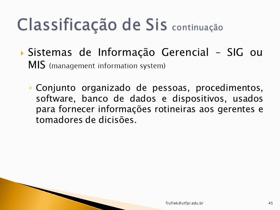 Sistemas de Informação Gerencial – SIG ou MIS (management information system) Conjunto organizado de pessoas, procedimentos, software, banco de dados