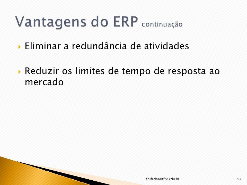 Eliminar a redundância de atividades Reduzir os limites de tempo de resposta ao mercado frufrek@utfpr.edu.br53