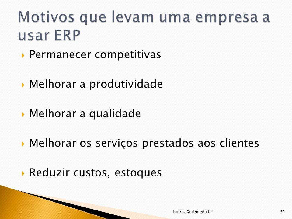 Permanecer competitivas Melhorar a produtividade Melhorar a qualidade Melhorar os serviços prestados aos clientes Reduzir custos, estoques frufrek@utf