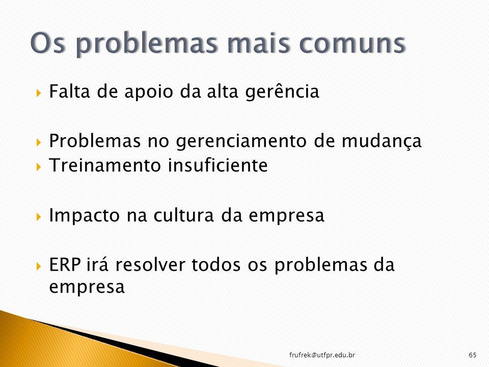 Falta de apoio da alta gerência Problemas no gerenciamento de mudança Treinamento insuficiente Impacto na cultura da empresa ERP irá resolver todos os