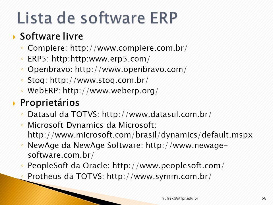 Software livre Compiere: http://www.compiere.com.br/ ERP5: http:http:www.erp5.com/ Openbravo: http://www.openbravo.com/ Stoq: http://www.stoq.com.br/