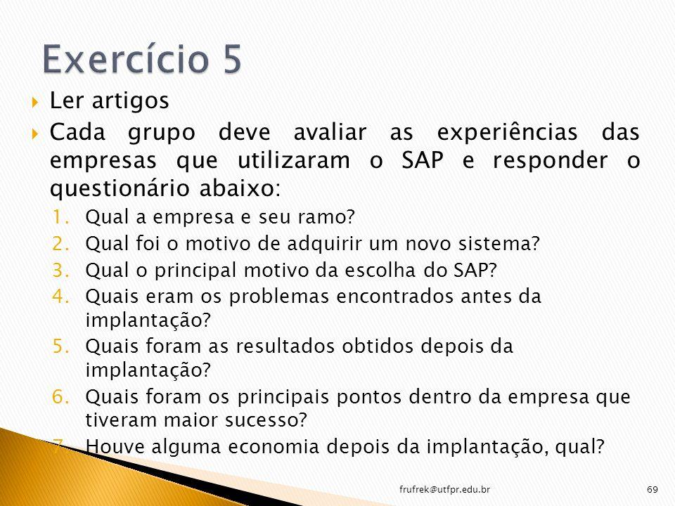 Ler artigos Cada grupo deve avaliar as experiências das empresas que utilizaram o SAP e responder o questionário abaixo: 1.Qual a empresa e seu ramo?