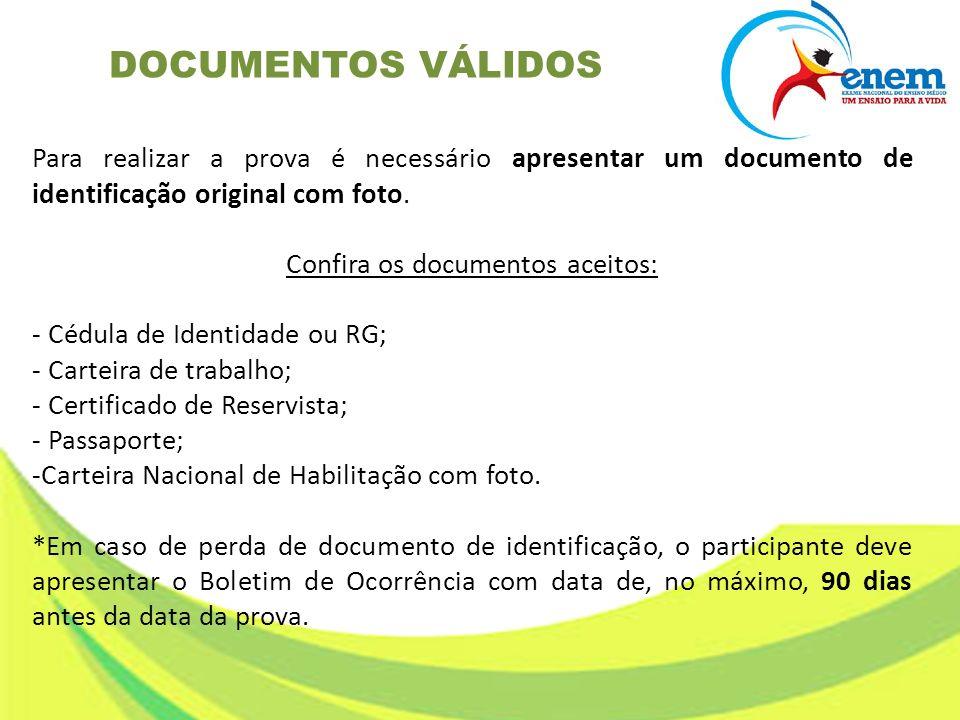 Para realizar a prova é necessário apresentar um documento de identificação original com foto. Confira os documentos aceitos: - Cédula de Identidade o