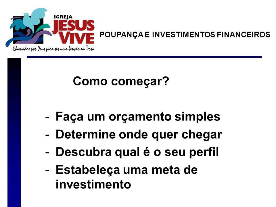 Como começar? -Faça um orçamento simples -Determine onde quer chegar -Descubra qual é o seu perfil -Estabeleça uma meta de investimento POUPANÇA E INV