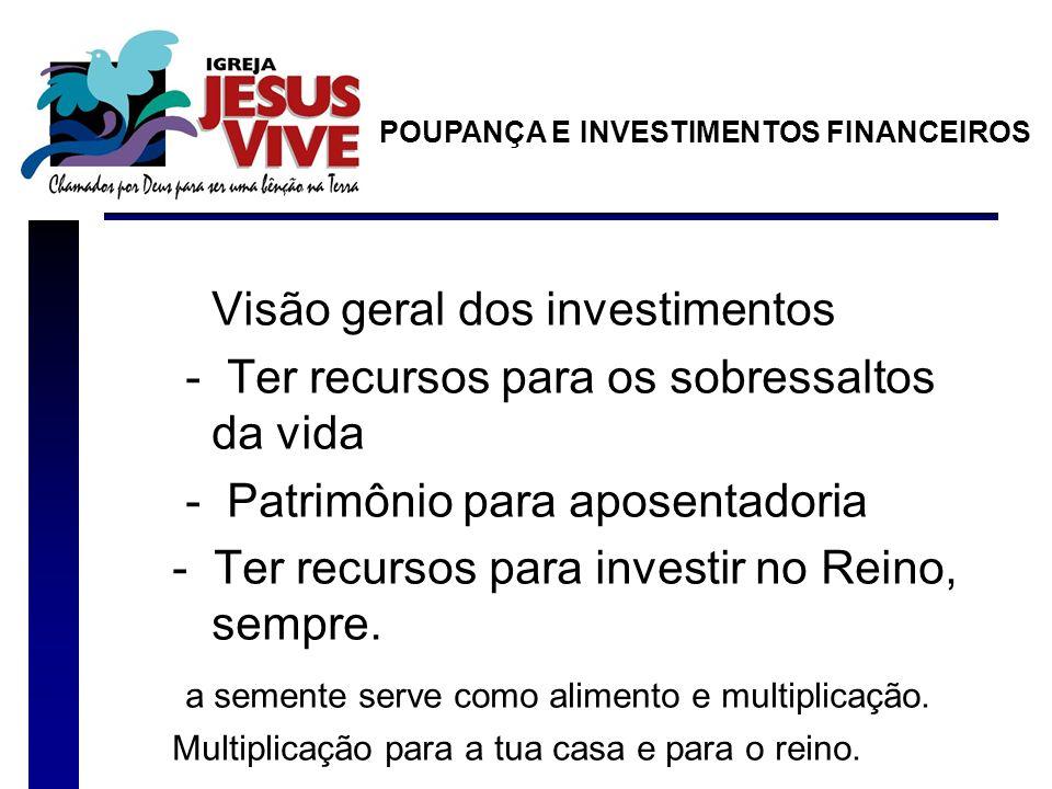 Visão geral dos investimentos - Ter recursos para os sobressaltos da vida - Patrimônio para aposentadoria - Ter recursos para investir no Reino, sempre.