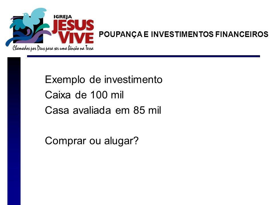 Exemplo de investimento Caixa de 100 mil Casa avaliada em 85 mil Comprar ou alugar? POUPANÇA E INVESTIMENTOS FINANCEIROS