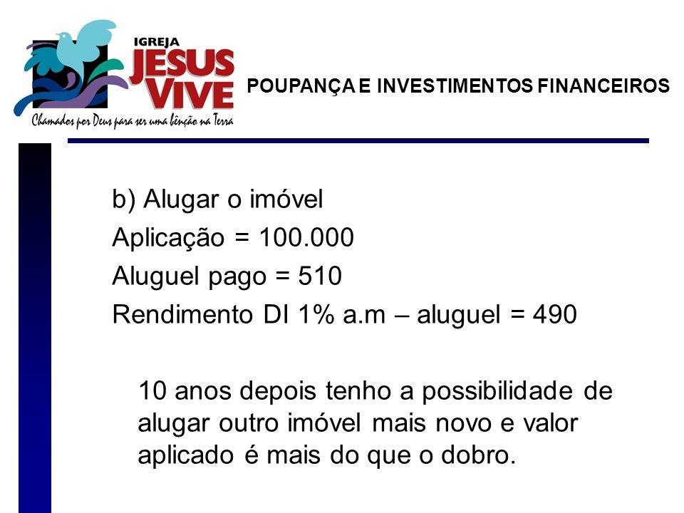 b) Alugar o imóvel Aplicação = 100.000 Aluguel pago = 510 Rendimento DI 1% a.m – aluguel = 490 10 anos depois tenho a possibilidade de alugar outro im