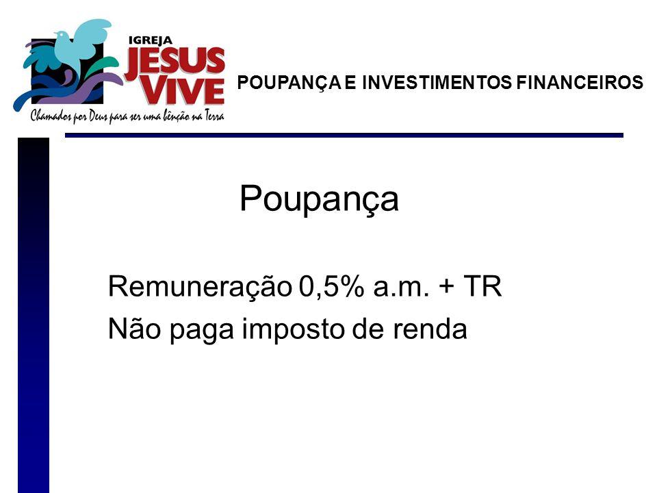 Poupança Remuneração 0,5% a.m. + TR Não paga imposto de renda POUPANÇA E INVESTIMENTOS FINANCEIROS