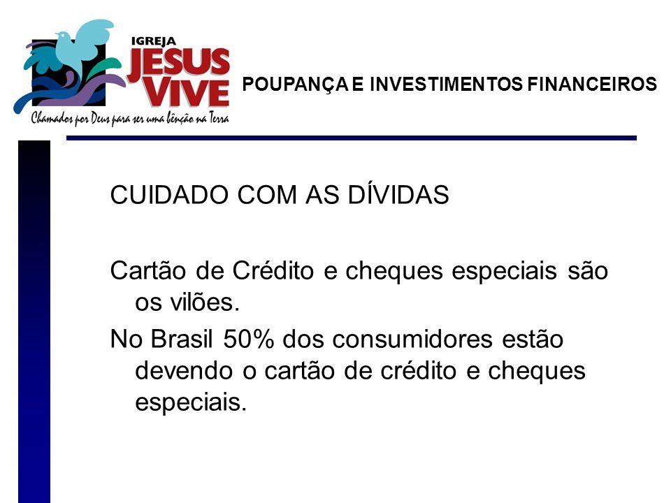 CUIDADO COM AS DÍVIDAS Cartão de Crédito e cheques especiais são os vilões. No Brasil 50% dos consumidores estão devendo o cartão de crédito e cheques