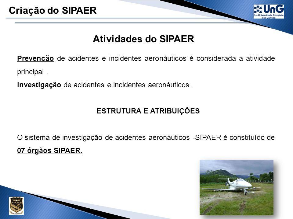 Criação do SIPAER Sistema de Prevenção e Investigação de Acidentes Aeronáuticos. O Ministério da Aeronáutica, com o objetivo de desenvolver a seguranç