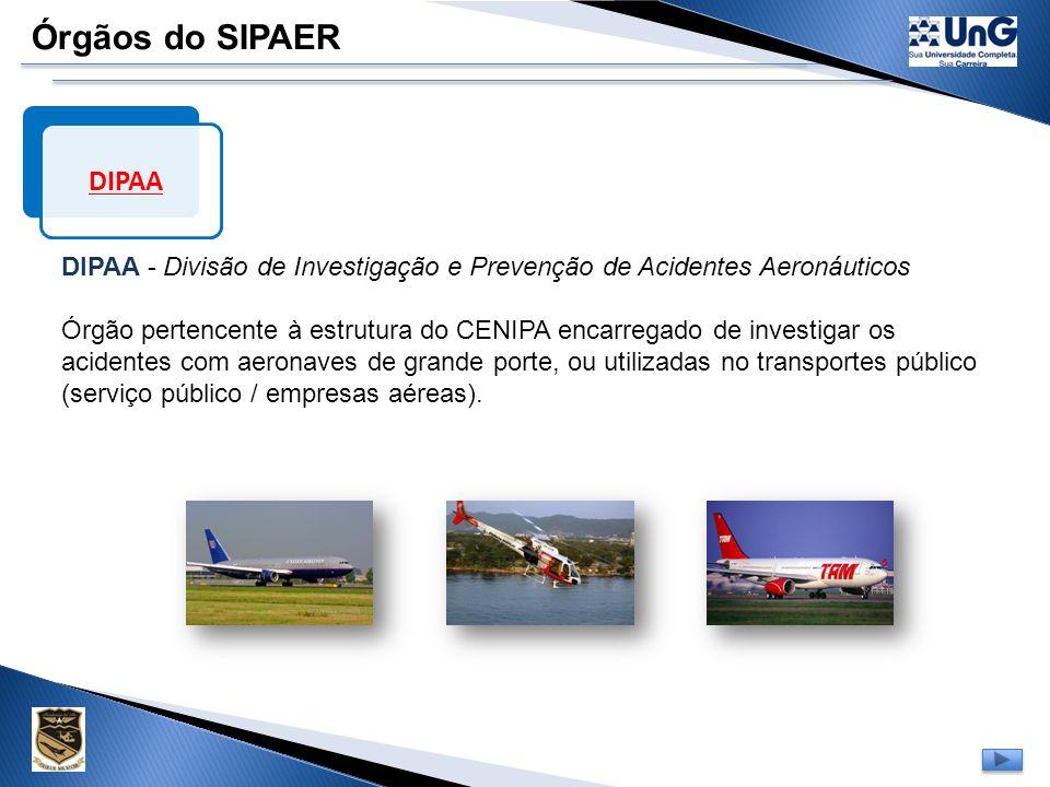 Órgãos do SIPAER CENIPA CENIPA - Centro de Investigação e Prevenção de Acidentes Aeronáuticos,criado em 1971, com sede em BRASÍLIA – DF. Órgão central