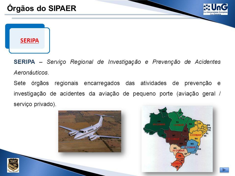 Órgãos do SIPAER DIPAA DIPAA - Divisão de Investigação e Prevenção de Acidentes Aeronáuticos Órgão pertencente à estrutura do CENIPA encarregado de in