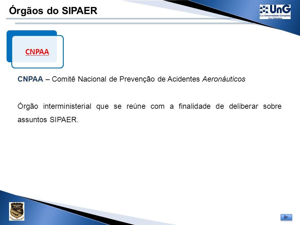Órgãos do SIPAER Setor de Segurança de Vôo Órgão existente nas empresas de aviação e nas entidades civis envolvidas com operação, manutenção ou circul