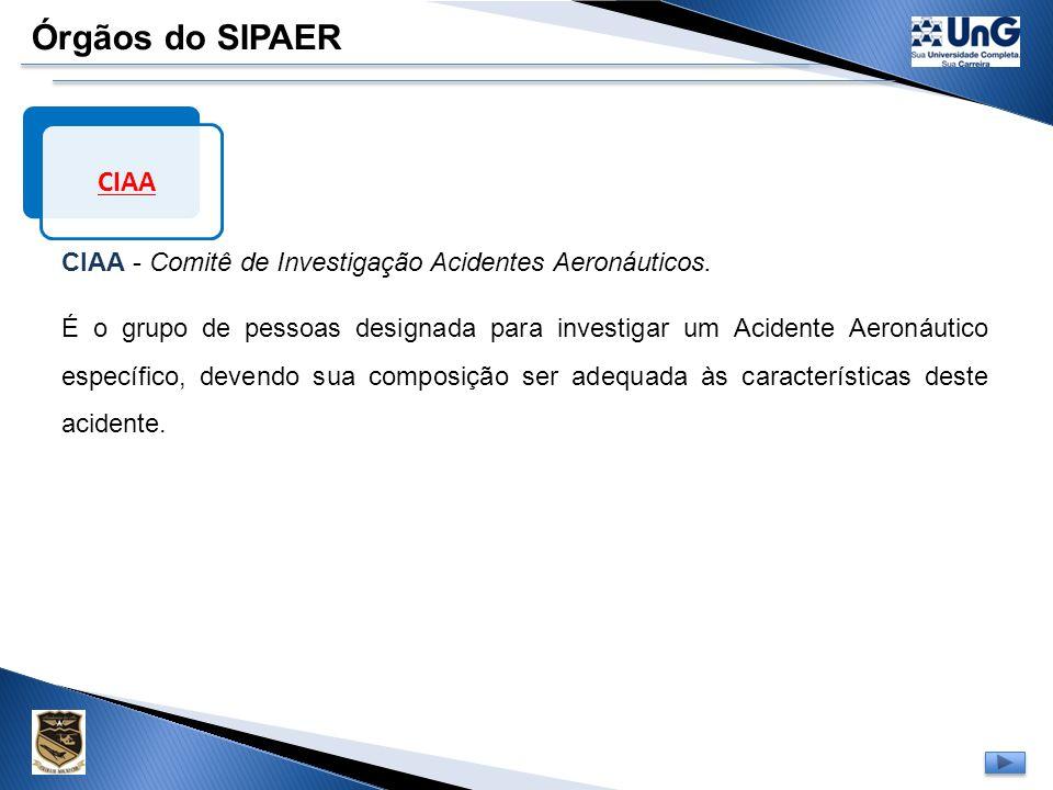 Órgãos do SIPAER CI CI - Comissão de Investigação Designa a CIAA, bem como outros membros cuja participação seja julgada de interesse à investigação.