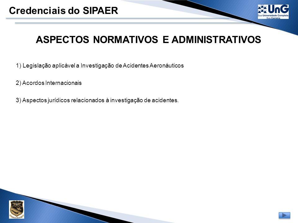 Credenciais do SIPAER Conteúdo Programático Modulo de Investigação ÁreaDisciplina Ciências Aeronáuticas Aspectos normativos e Administrativos Fator Hu
