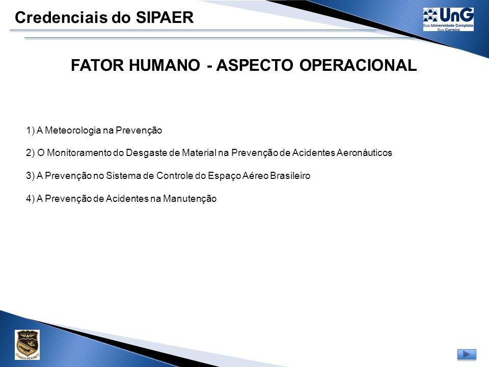 Credenciais do SIPAER ASPECTOS NORMATIVOS E ADMINISTRATIVOS 1) Legislação aplicável a Investigação de Acidentes Aeronáuticos 2) Acordos Internacionais