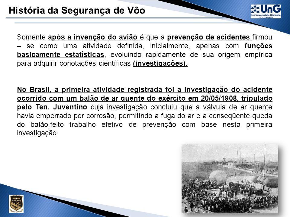História da Segurança de Vôo O primeiro registro de uma medida de prevenção de acidentes aeronáuticos encontra - se na mitológica aventura de Dédalo e