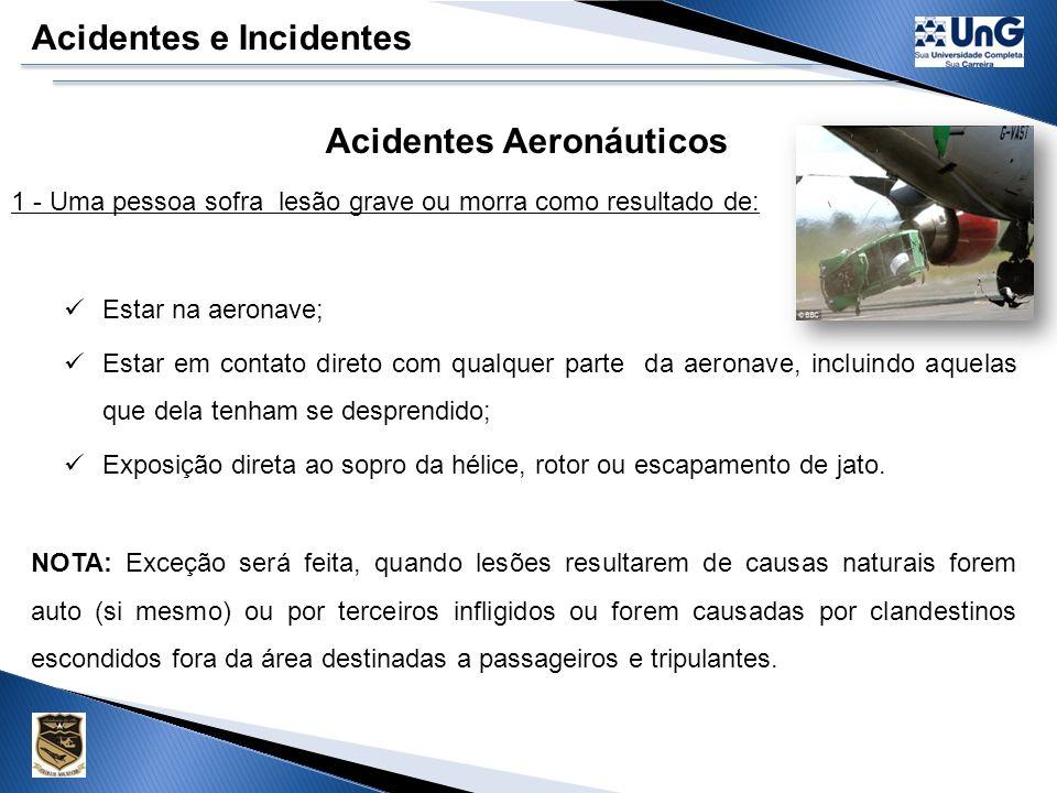 Acidentes e Incidentes Acidentes Aeronáuticos É toda ocorrência relacionada com a operação de uma aeronave, havida entre o período em que uma pessoa nela embarca com a intenção de realizar um vôo, até o momento em que todas as pessoas tenham dela desembarcado e, durante o qual, pelo menos uma das situações abaixo ocorra...