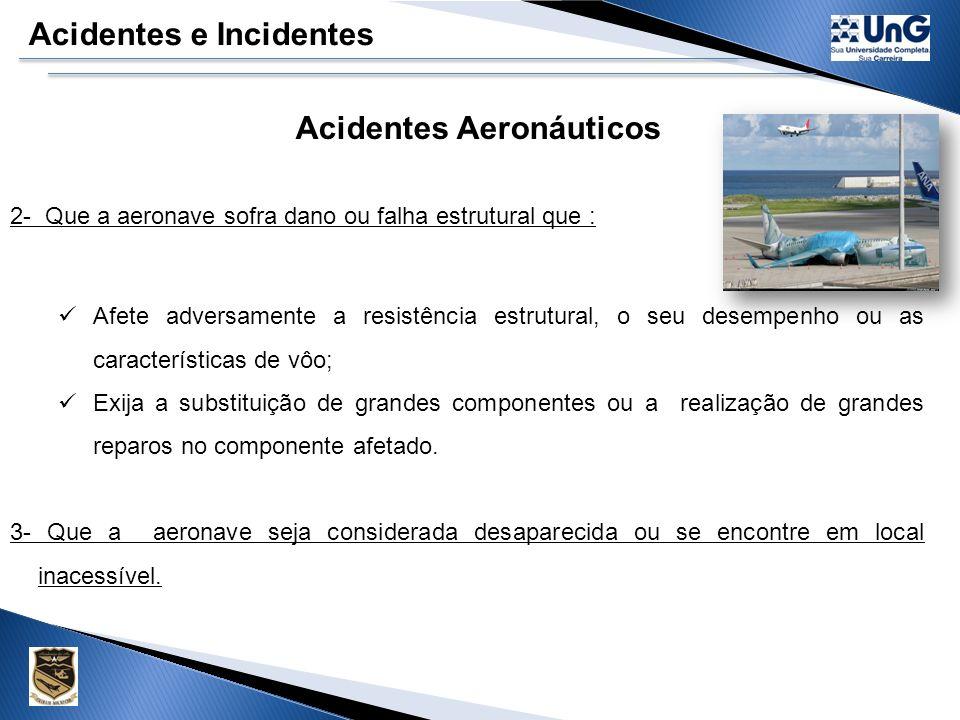 Acidentes e Incidentes Acidentes Aeronáuticos 1 - Uma pessoa sofra lesão grave ou morra como resultado de: Estar na aeronave; Estar em contato direto com qualquer parte da aeronave, incluindo aquelas que dela tenham se desprendido; Exposição direta ao sopro da hélice, rotor ou escapamento de jato.