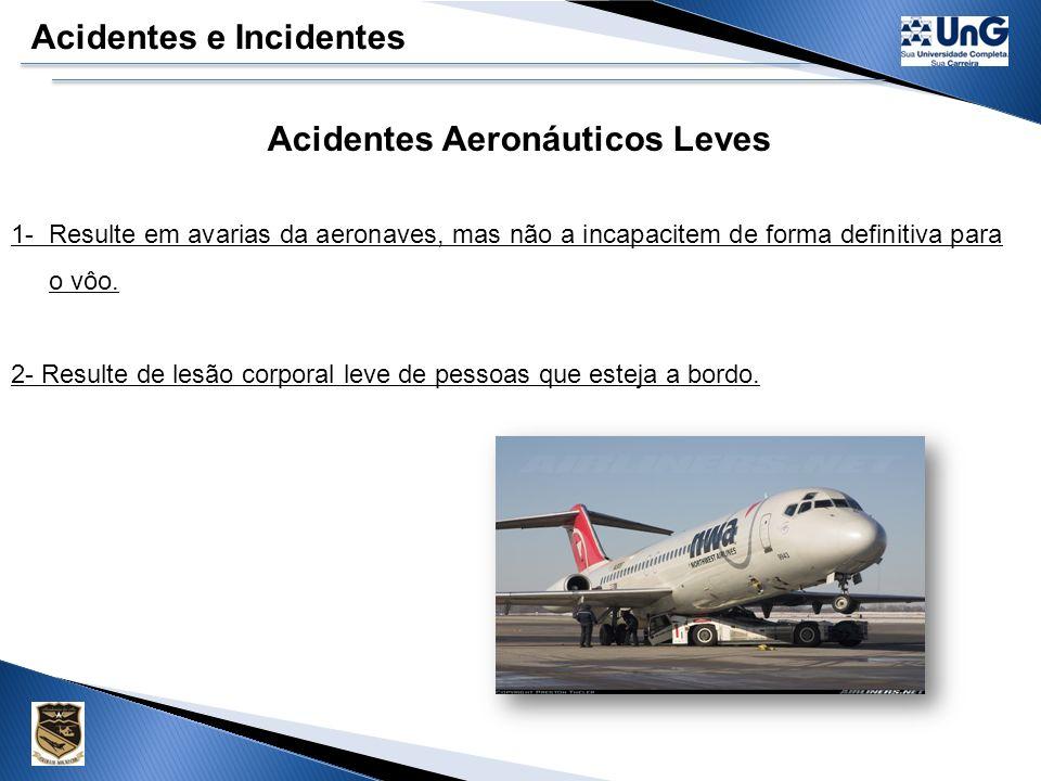 Acidentes e Incidentes Acidentes Aeronáuticos 2-Que a aeronave sofra dano ou falha estrutural que : Afete adversamente a resistência estrutural, o seu
