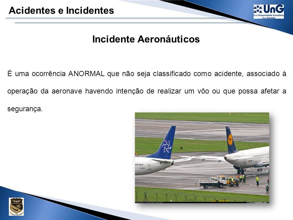 Acidentes e Incidentes Acidentes Aeronáuticos Leves 1-Resulte em avarias da aeronaves, mas não a incapacitem de forma definitiva para o vôo. 2- Result