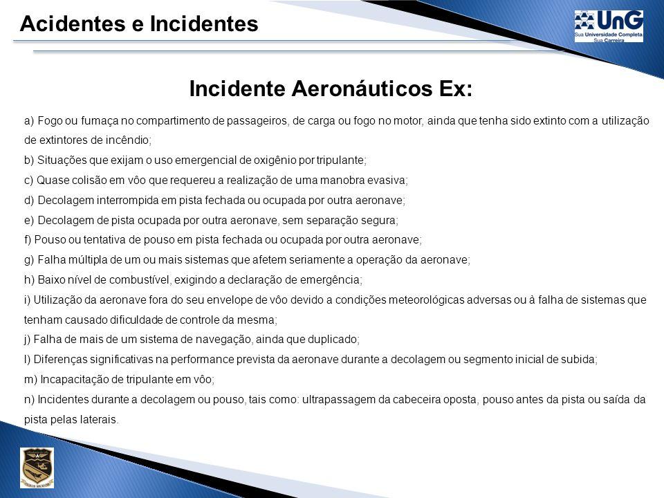 Acidentes e Incidentes Incidente Aeronáuticos É uma ocorrência ANORMAL que não seja classificado como acidente, associado à operação da aeronave havendo intenção de realizar um vôo ou que possa afetar a segurança.