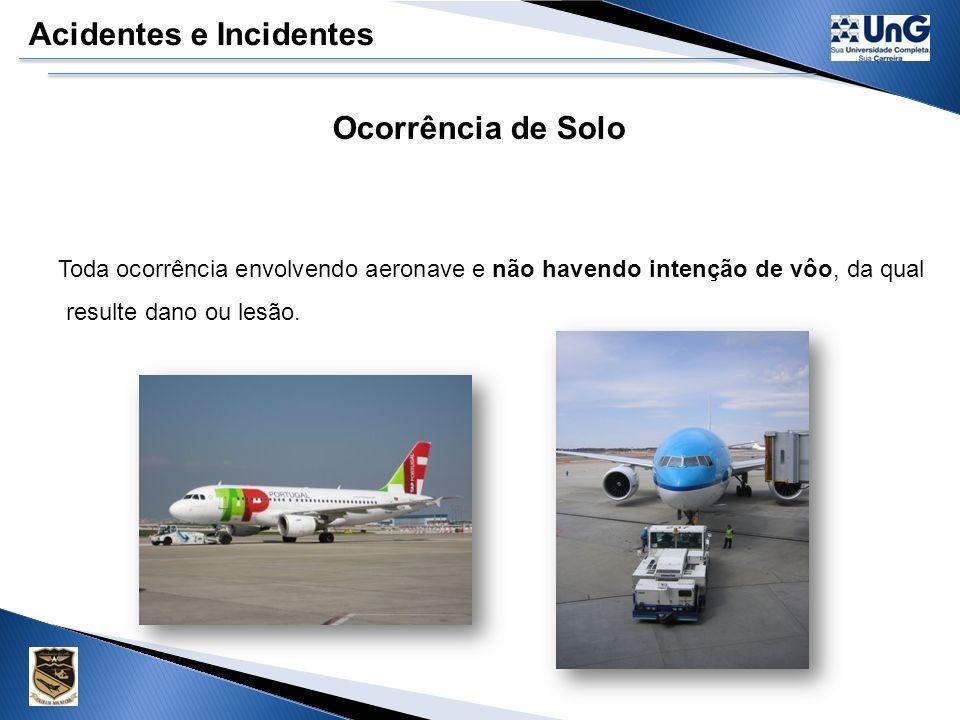 Acidentes e Incidentes Incidente Aeronáuticos Ex: a) Fogo ou fumaça no compartimento de passageiros, de carga ou fogo no motor, ainda que tenha sido extinto com a utilização de extintores de incêndio; b) Situações que exijam o uso emergencial de oxigênio por tripulante; c) Quase colisão em vôo que requereu a realização de uma manobra evasiva; d) Decolagem interrompida em pista fechada ou ocupada por outra aeronave; e) Decolagem de pista ocupada por outra aeronave, sem separação segura; f) Pouso ou tentativa de pouso em pista fechada ou ocupada por outra aeronave; g) Falha múltipla de um ou mais sistemas que afetem seriamente a operação da aeronave; h) Baixo nível de combustível, exigindo a declaração de emergência; i) Utilização da aeronave fora do seu envelope de vôo devido a condições meteorológicas adversas ou à falha de sistemas que tenham causado dificuldade de controle da mesma; j) Falha de mais de um sistema de navegação, ainda que duplicado; l) Diferenças significativas na performance prevista da aeronave durante a decolagem ou segmento inicial de subida; m) Incapacitação de tripulante em vôo; n) Incidentes durante a decolagem ou pouso, tais como: ultrapassagem da cabeceira oposta, pouso antes da pista ou saída da pista pelas laterais.