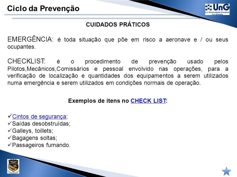 Ciclo da Prevenção PESSOAL DE APOIO Profissional que pratica ou executa a atividade aérea terá preparo específico para o que irá fazer, considerando s