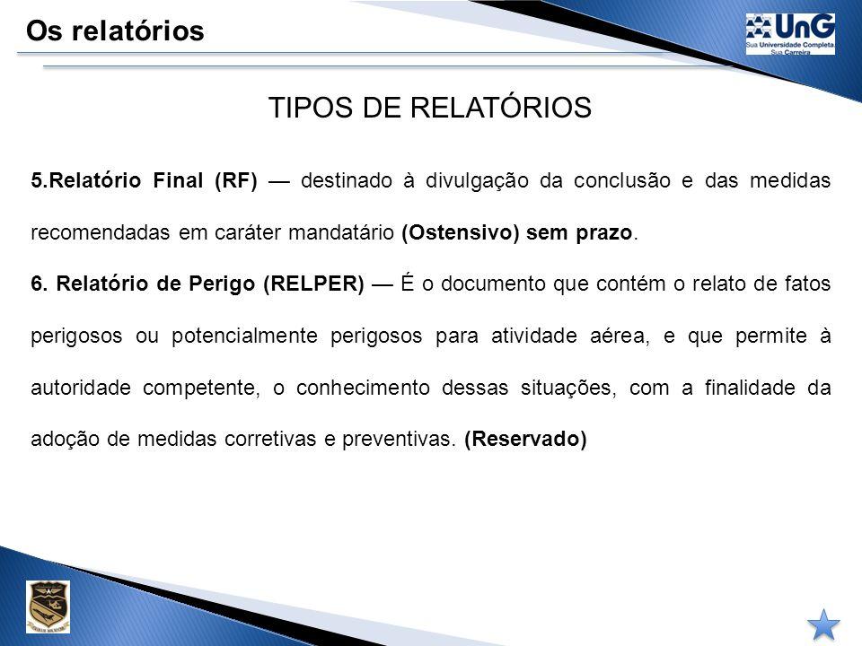 Os relatórios TIPOS DE RELATÓRIOS 3. Relatório preliminar (RP) documento formal que contém, de forma simplificada, informações iniciais (preliminares)