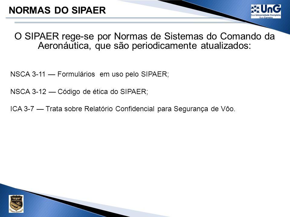 NORMAS DO SIPAER O SIPAER rege-se por Normas de Sistemas do Comando da Aeronáutica, que são periodicamente atualizados: NSCA 3-7 Responsabilidade dos operadores de aeronaves em caso de acidente e incidente aeronáutico; NSCA 3-8 Danos causados a terceiro decorrentes de acidentes ou de incidentes aeronáuticos com aeronaves militares do COMAER (revogada); NSCA 3-9 Recomendações de segurança emitidas pelo SIPAER; NSCA 3-10 Formação e utilização técnico profissional do pessoal do SIPAER.