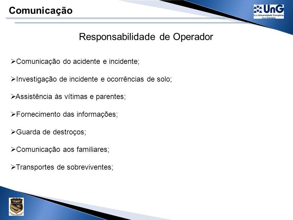 É responsabilidade do operador comunicar a ocorrência de acidente ou incidente ocorrido com aeronave sob sua responsabilidade. A comunicação do fato d