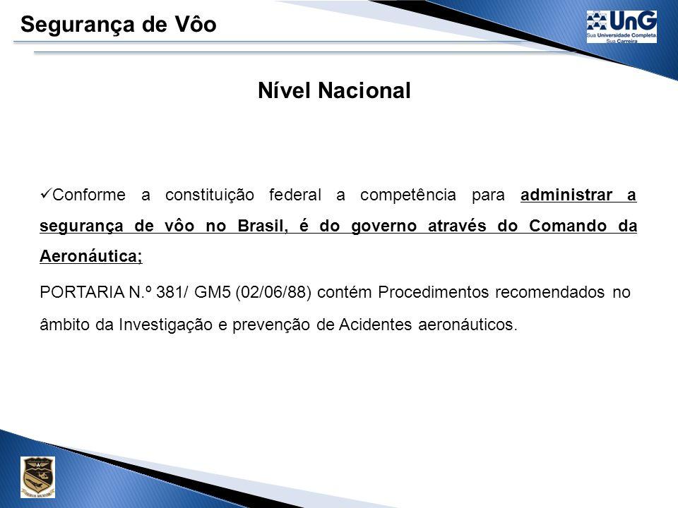 Segurança de Vôo Nível Nacional Conforme a constituição federal a competência para administrar a segurança de vôo no Brasil, é do governo através do Comando da Aeronáutica; PORTARIA N.º 381/ GM5 (02/06/88) contém Procedimentos recomendados no âmbito da Investigação e prevenção de Acidentes aeronáuticos.