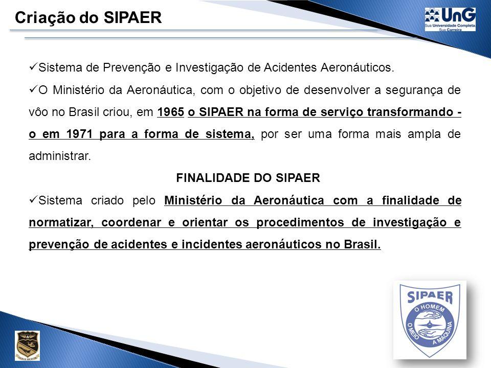 Segurança de Vôo Nível Nacional Conforme a constituição federal a competência para administrar a segurança de vôo no Brasil, é do governo através do C