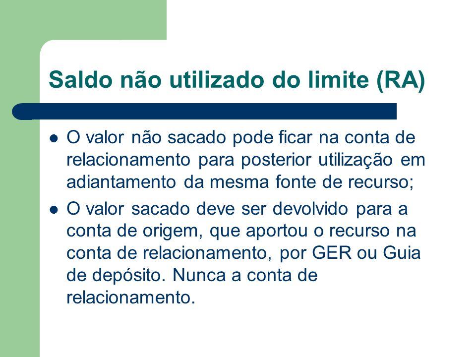 Saldo não utilizado do limite (RA) O valor não sacado pode ficar na conta de relacionamento para posterior utilização em adiantamento da mesma fonte d