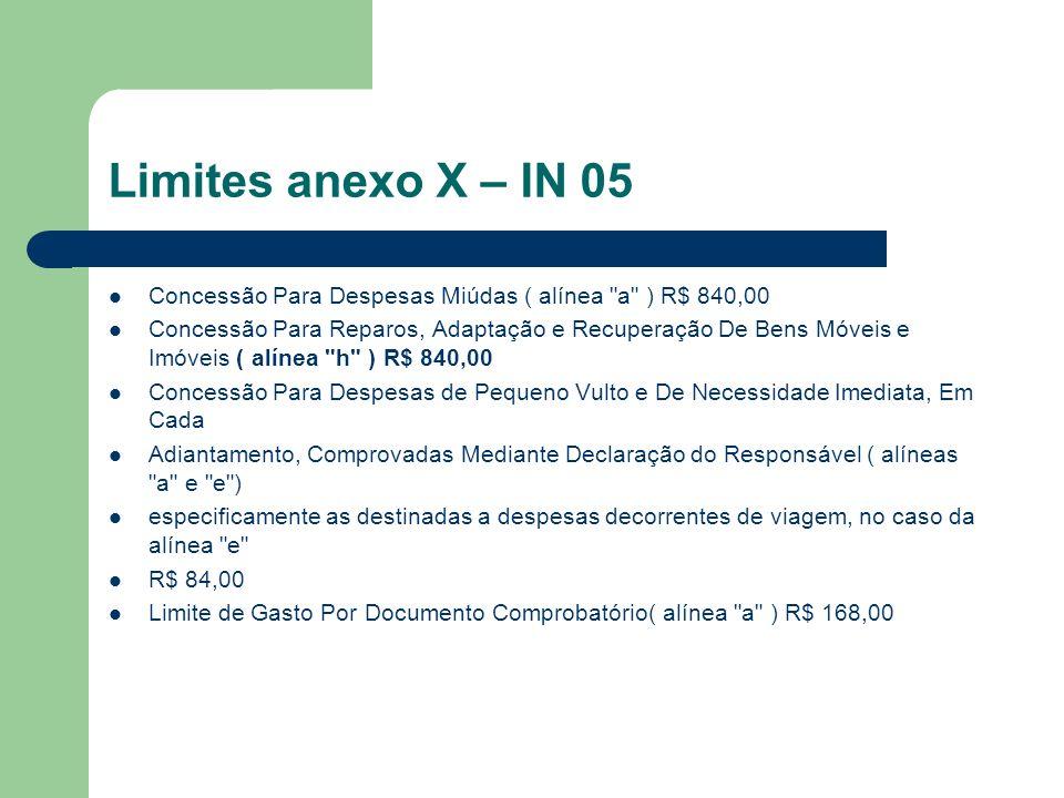 Limites anexo X – IN 05 Concessão Para Despesas Miúdas ( alínea