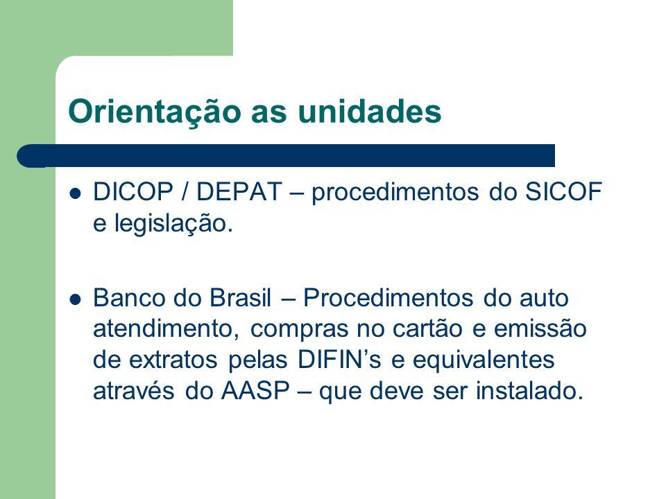 Orientação as unidades DICOP / DEPAT – procedimentos do SICOF e legislação. Banco do Brasil – Procedimentos do auto atendimento, compras no cartão e e