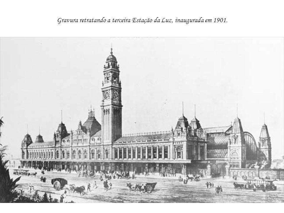 Gravura retratando a terceira Estação da Luz, inaugurada em 1901.