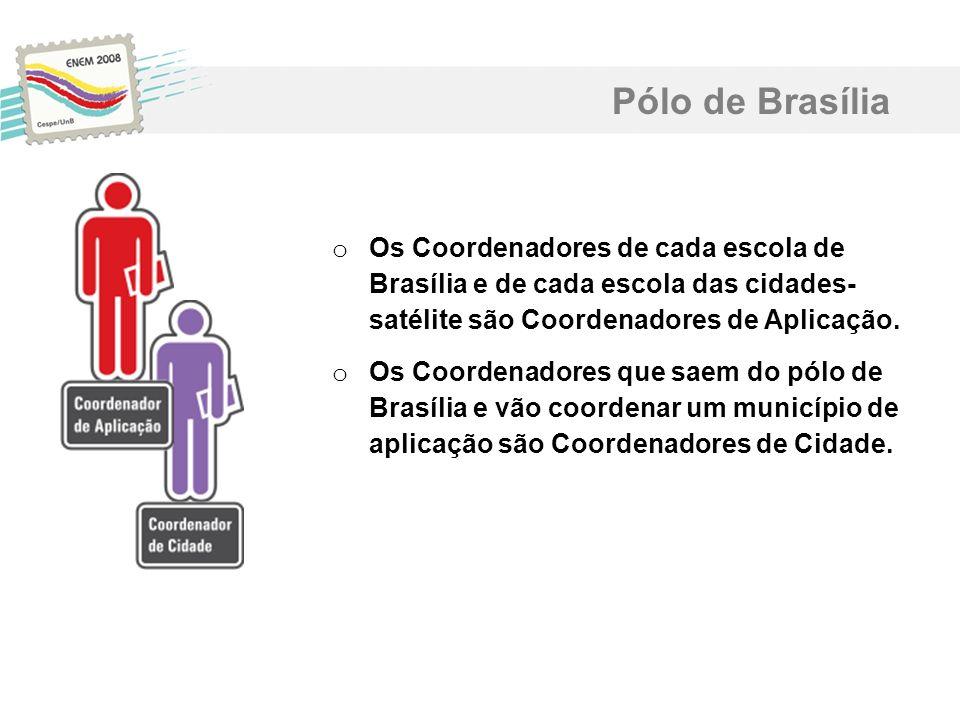 Pólo de Brasília o Os Coordenadores de cada escola de Brasília e de cada escola das cidades- satélite são Coordenadores de Aplicação. o Os Coordenador