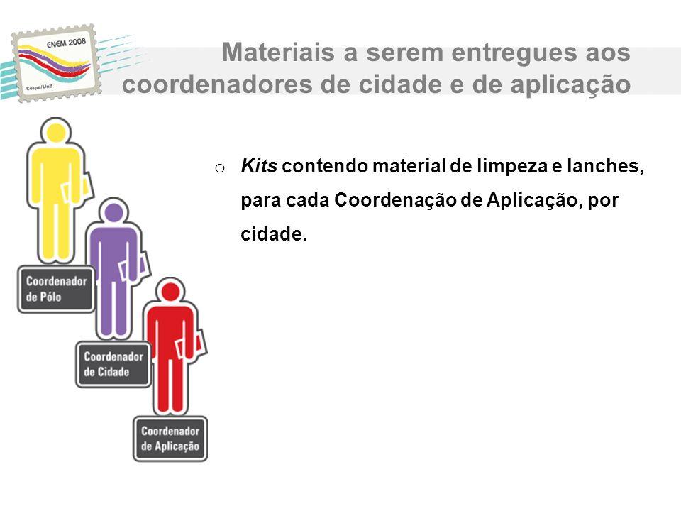 o Kits contendo material de limpeza e lanches, para cada Coordenação de Aplicação, por cidade. Materiais a serem entregues aos coordenadores de cidade